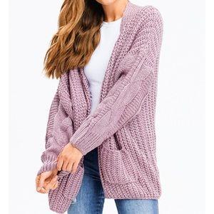 Comfy Dusty Purple Oversized Fuzzy Knit Open Cardi